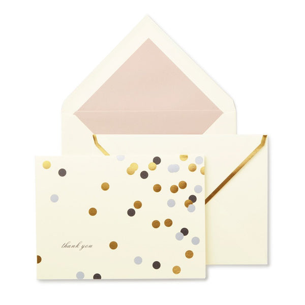 Kate Spade Note Card Set, thank you, Confetti, Bridal