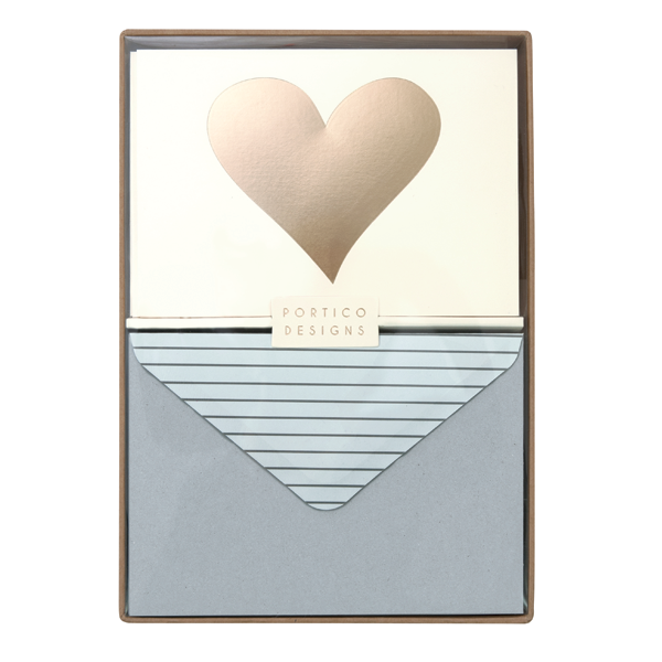 Portico Designs Boxed Note Cards Gold Heart