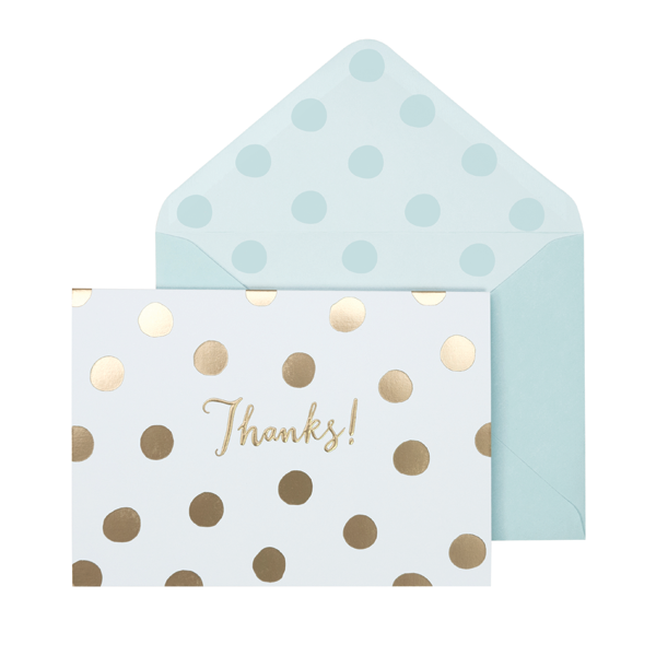 Portico Designs Boxed Note Cards Gold Spotty 'Thanks'
