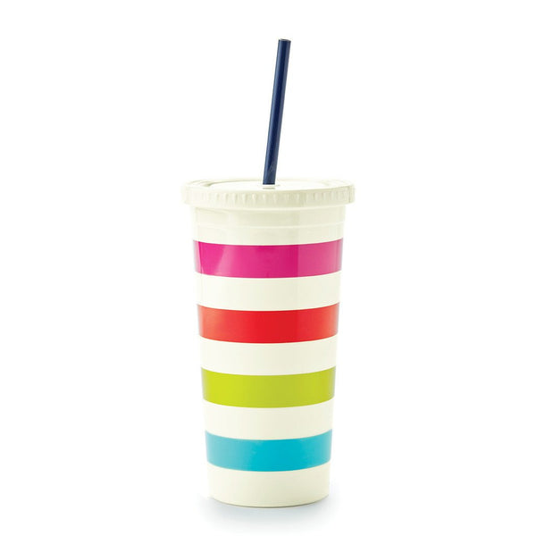Kate Spade New York Tumbler With Straw candy stripe
