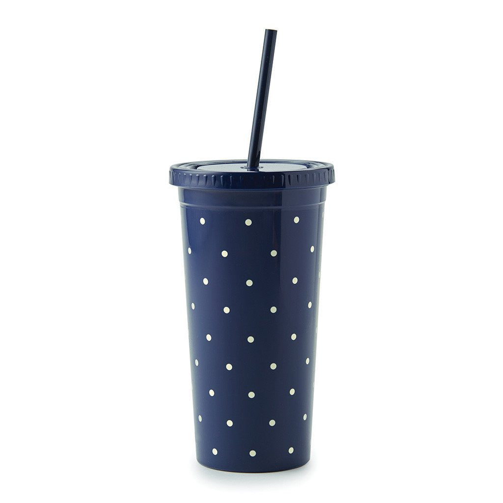 Kate Spade New York Tumbler With Straw navy larabee dot