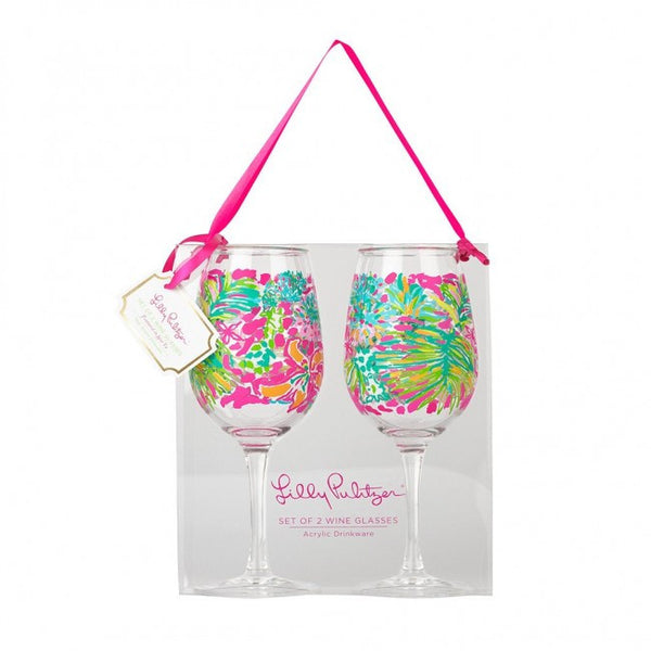 Lilly Pulitzer Acrylic Wine Glasses Spot Ya