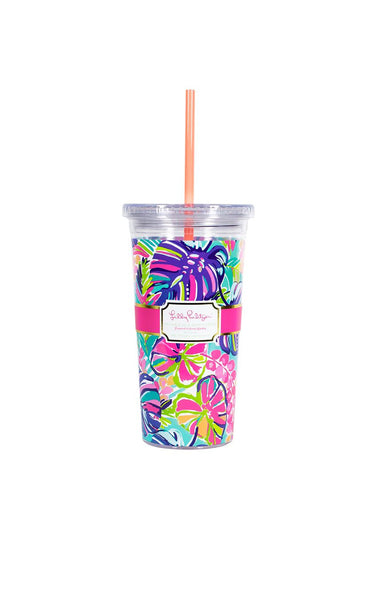 Lilly Pulitzer Tumbler With Straw Exotic Garden