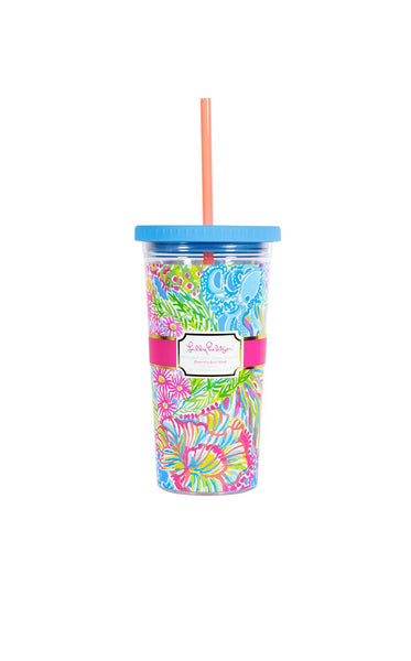 Lilly Pulitzer Tumbler With Straw Lover's Coral
