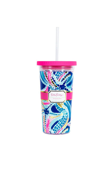 Lilly Pulitzer Tumbler With Straw Ocean Jewels