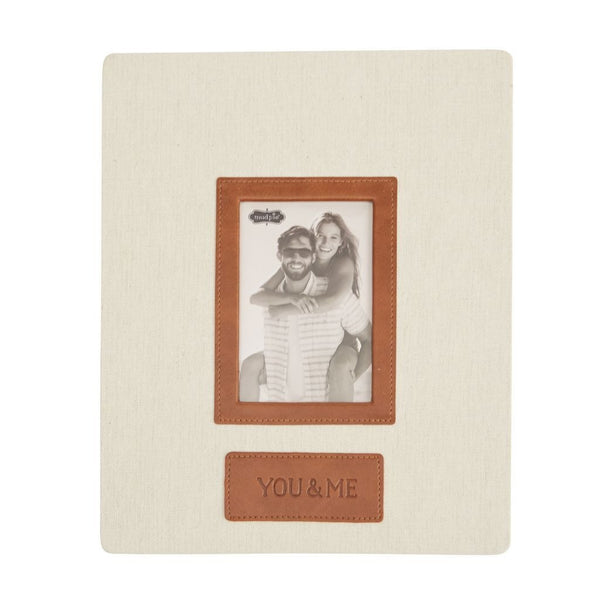 Mud Pie You & Me Linen and Leather Frame