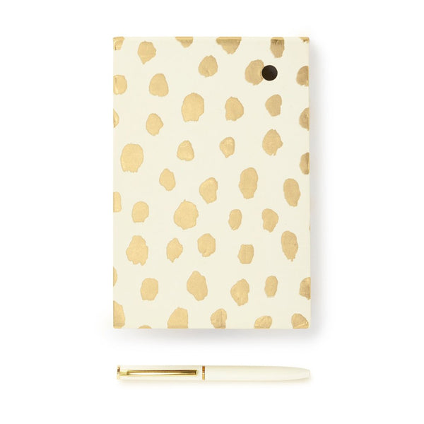 kate spade new york Loose Note Holder With Pen - Gold Flamingo Dot