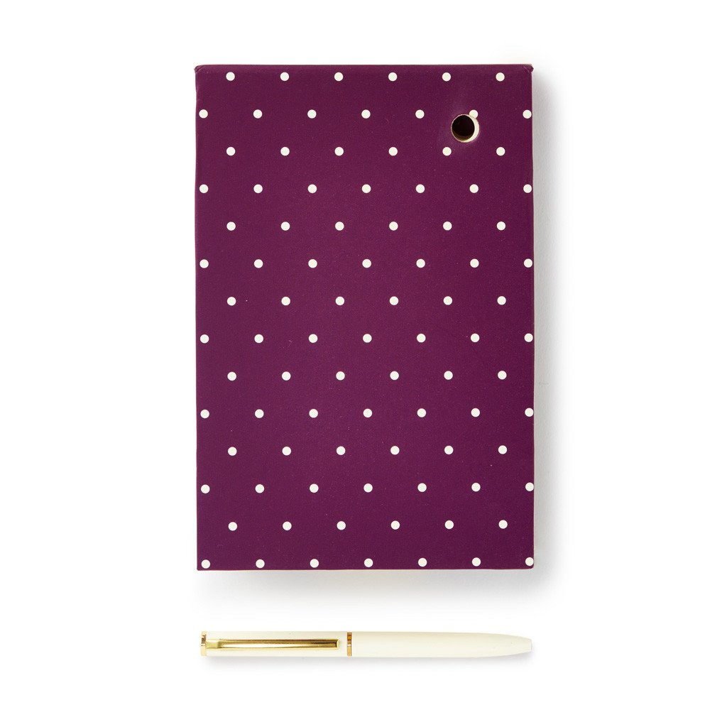kate spade new york - Loose Note Holder With Pen - Plum Bikini Dot