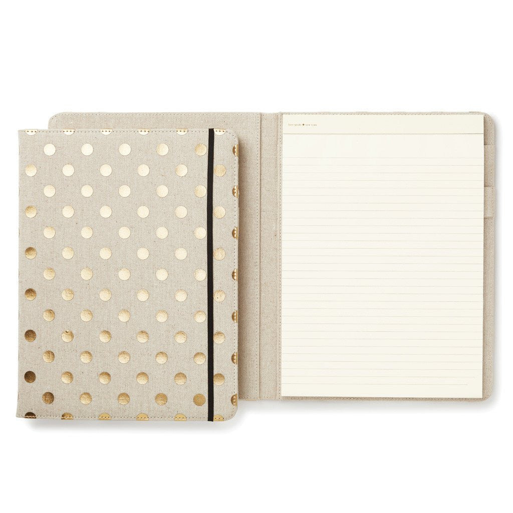kate spade folio notepad gold dots cue the confetti