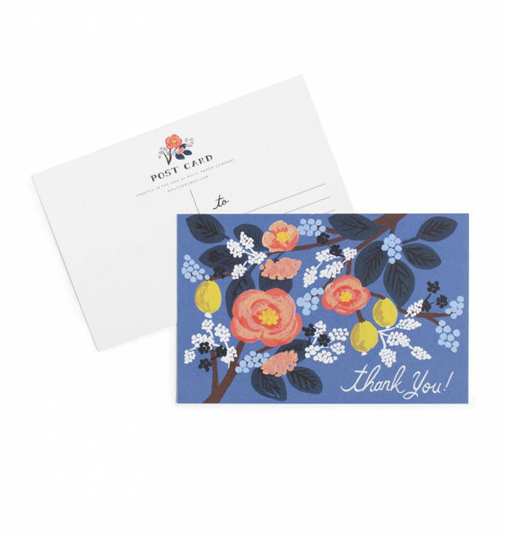 Rifle Paper Co. Postcard Cobalt Thank You