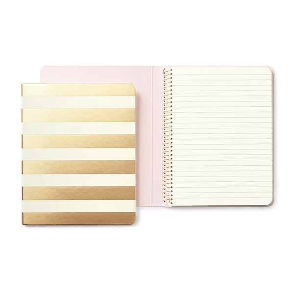 Kate Spade New York Conceal Spiral Notebook gold stripe