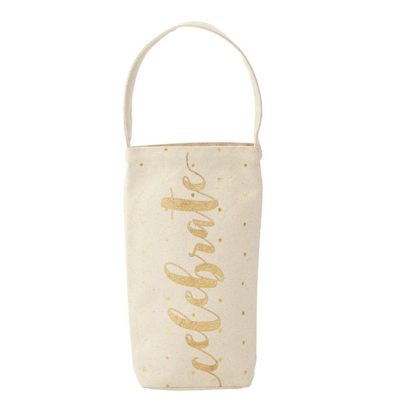 Mud Pie Canvas Gold Wine Bags