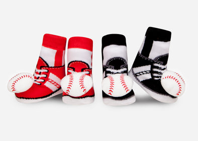 Baseball baby rattle socks