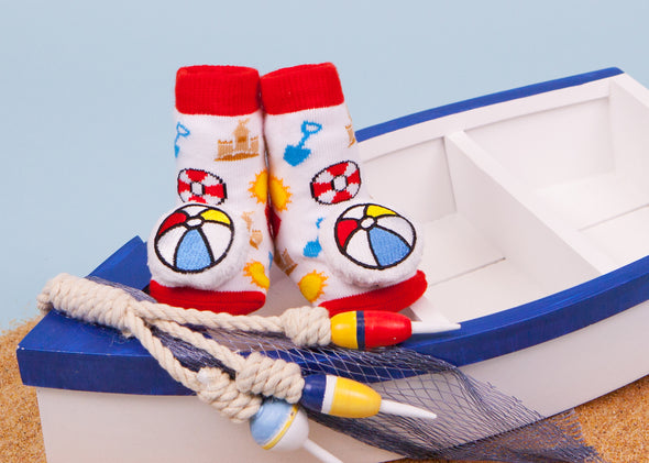 Beach ball baby socks