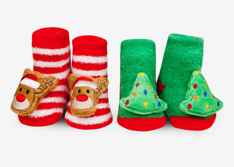 Holiday Christmas rattle baby socks