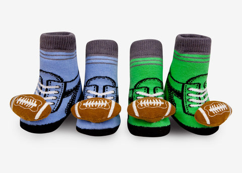 Football baby rattle socks