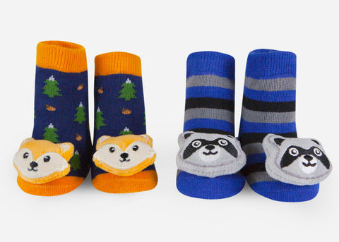 Fox and raccoon baby socks