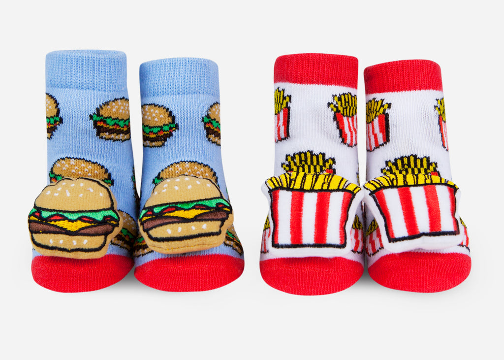 Hamburger and fries baby socks