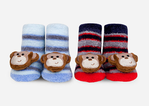 Monkey baby rattle socks