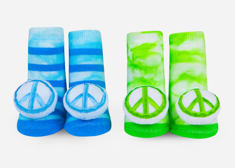 peace sign baby socks