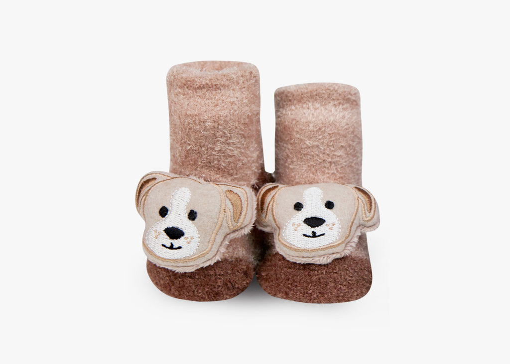 Puppy Brown Rattle Socks - 1 Pair