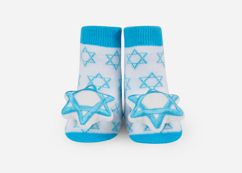 Star of David Rattle Socks- 1 pair