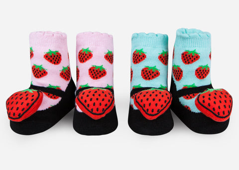 Waddle Strawberry Baby Rattle Socks