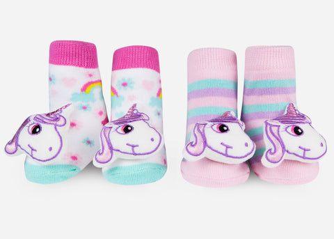 Waddle Unicorn Baby Rattle Socks