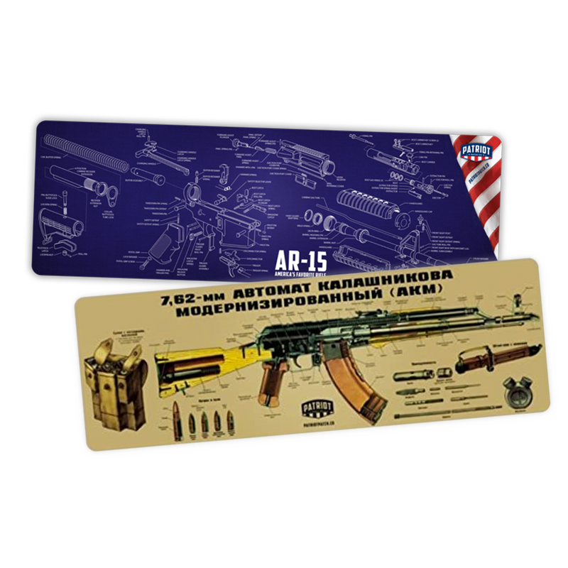 "BLEM 2 Pack: AR-15 or AK47 Cleaning Mat/Mouse Pads (36"" Wide) BLEM"