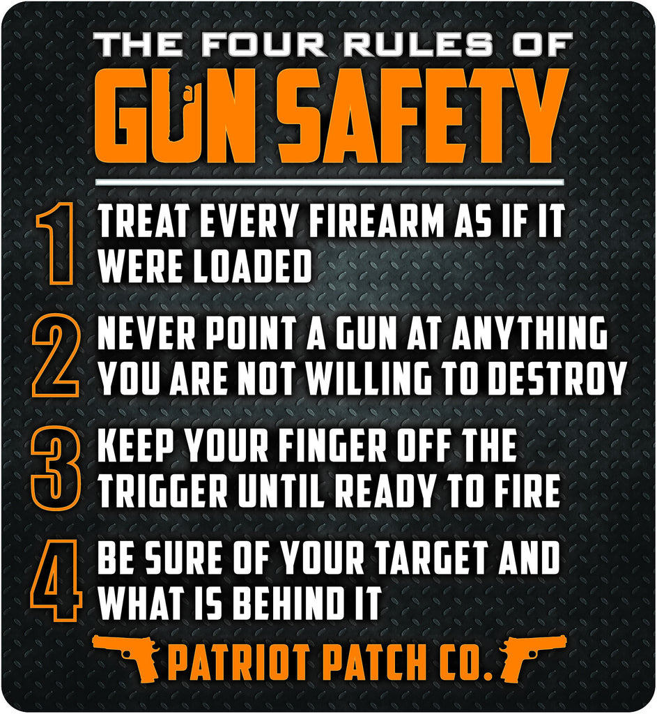 "4 Rules of Gun Safety - 5.25"" x 5.75"" Large Size - Single Sticker"