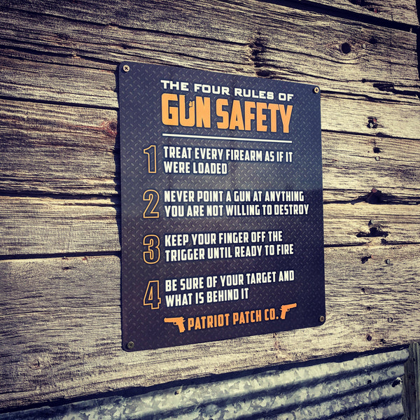 Rules of Gun Safety - Aluminum Sign