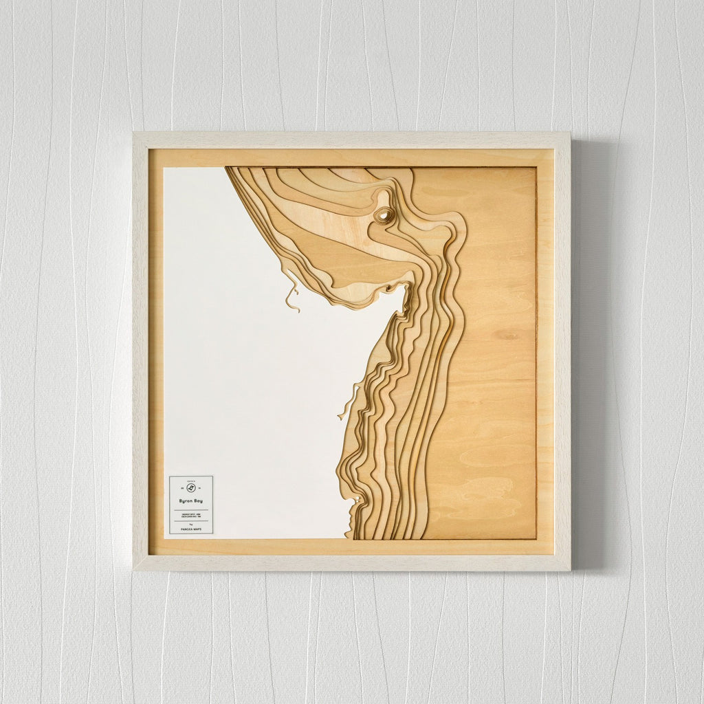 Unique Wooden Contour Map of Byron Bay