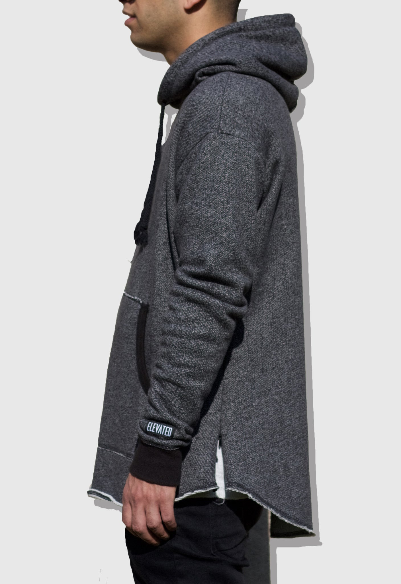 Raw Edge Hoodie Black Heather