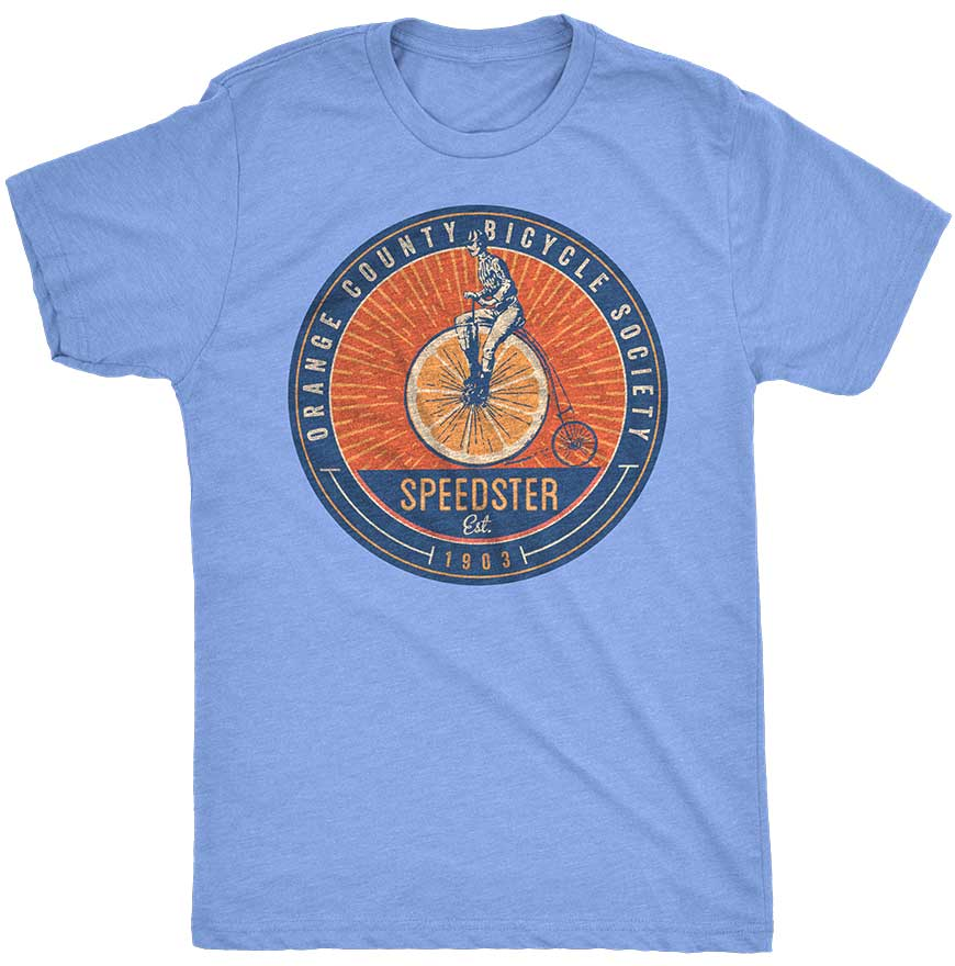 Winter Garden High Wheel Speedster T-Shirt - Unisex - Maroon Heavy Metal and Light Blue - A. B. Newton and Company