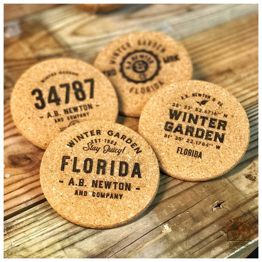 Winter Garden Cork Coasters - Set of 4