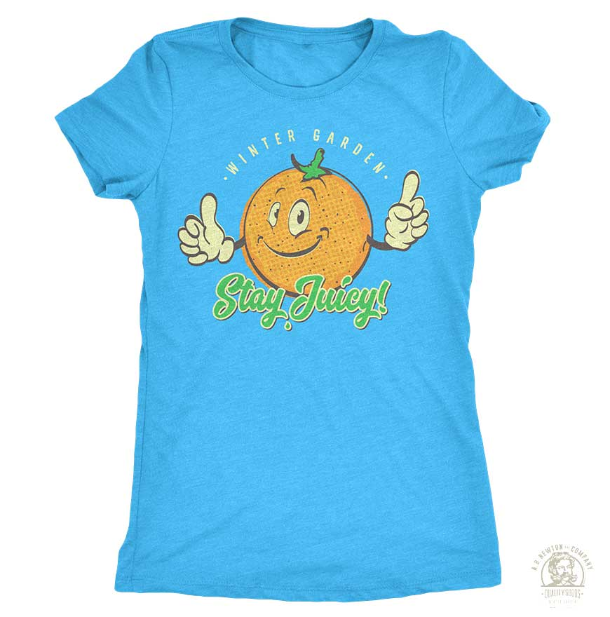 Stay Juicy Orange T-Shirt - Womens - Bondi Blue