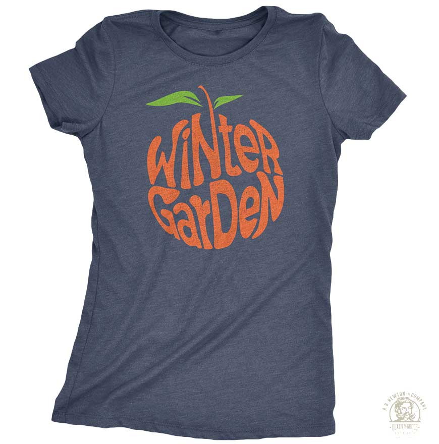Winter Garden Orange T-Shirt - Womens - Vintage Navy
