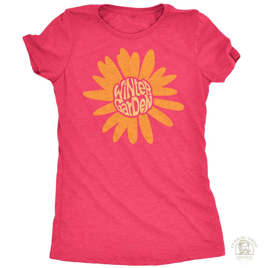 Winter Garden Sunflower T-Shirt - Womens - Vintage Pink