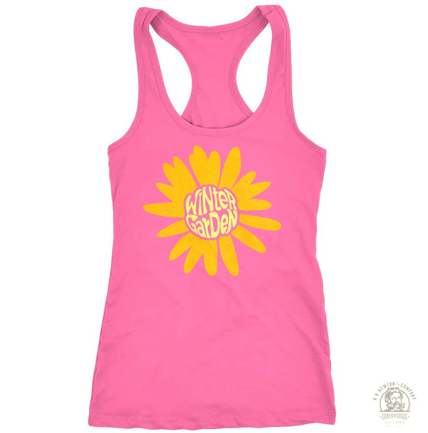 Winter Garden Sunflower Racerback Tank - Womens - Vintage Pink