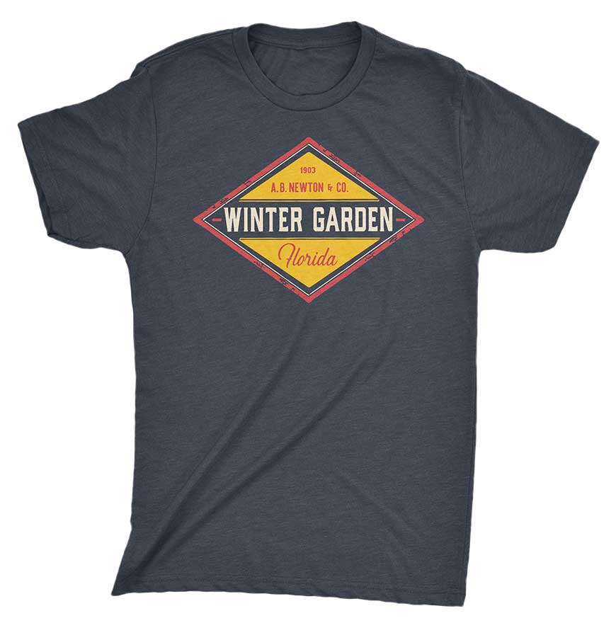 Winter Garden Diamond T-Shirt - Unisex - Vintage Navy - A. B. Newton and Company