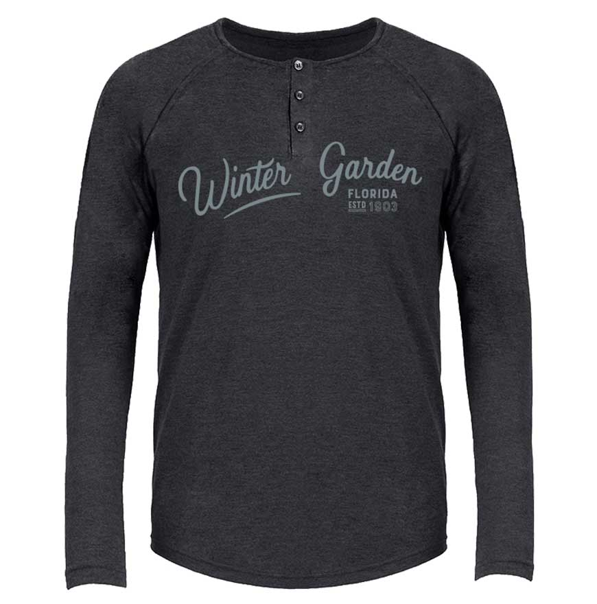 Winter Garden Henley - Long Sleeve Florida Tri-Blend Shirt - Unisex - Vintage Black
