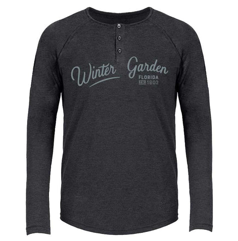 Winter Garden Henley - Long Sleeve Florida Tri-Blend Shirt - Unisex - Vintage Black - A. B. Newton and Company