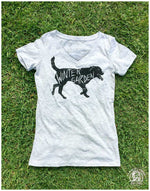 Winter Garden Dog V-Neck T-Shirt - Womens - Heather Grey