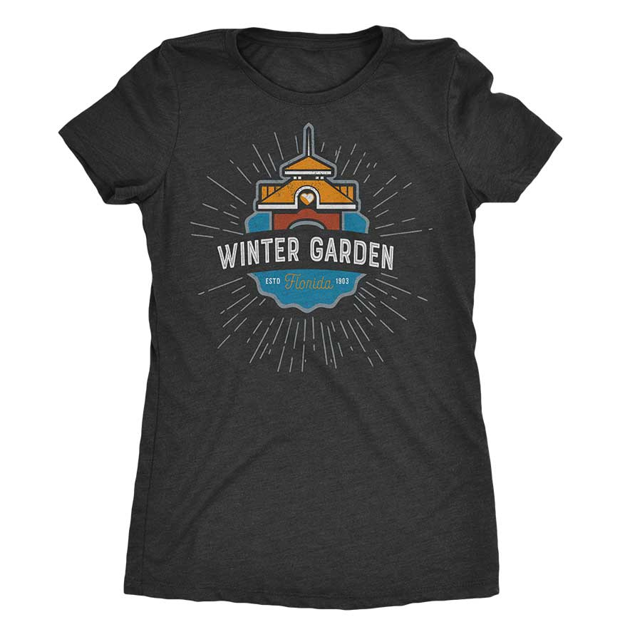 Winter Garden Clock Tower T-Shirt - Womens Cut - Vintage Black - A. B. Newton and Company