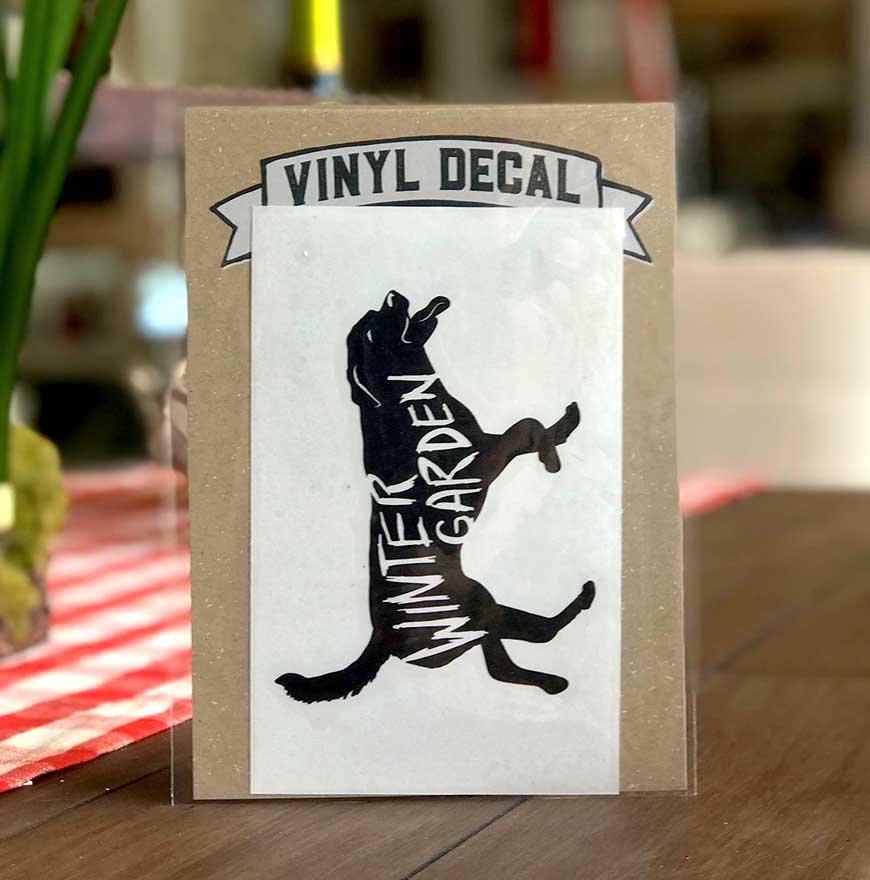 Winter Garden Dog Vinyl Decal - A. B. Newton and Company