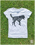 Winter Garden Dog V-Neck T-Shirt - Girls Youth - Heather Grey