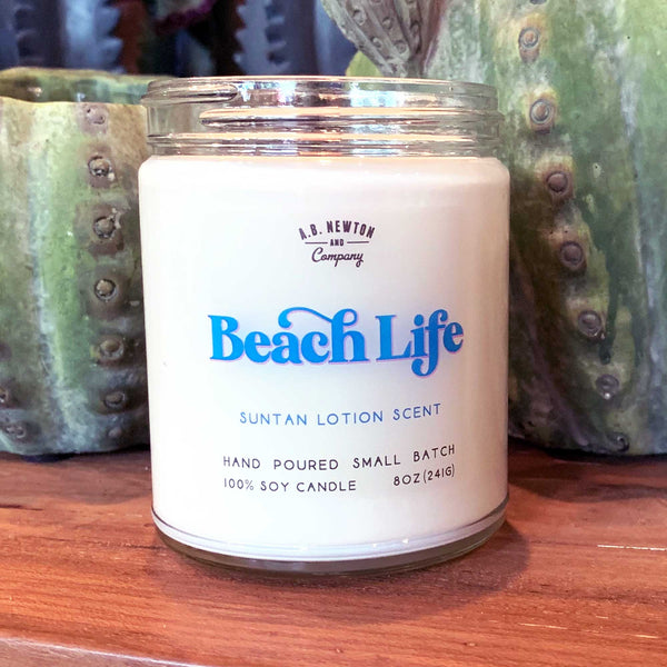Beach Life Suntan Lotion Scented 8oz Soy Candle Hand Poured Small Batch - A. B. Newton and Company