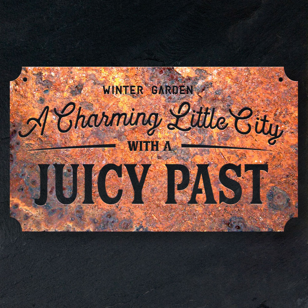 Winter Garden Charming Little City Rustic Steel Sign - A. B. Newton and Company