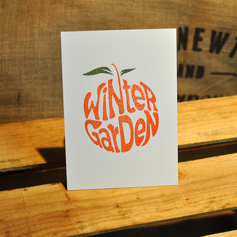 Winter Garden Orange Print - 5x7 - Collectible Stationery - A. B. Newton and Company