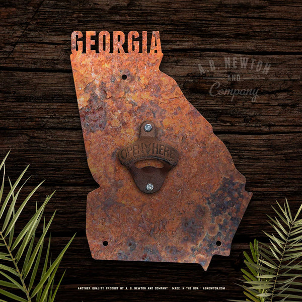 Wall Mounted Rustic State Bottle Opener - A. B. Newton and Company